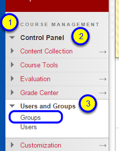 """In the Course Management section of the course menu, click Control Panel, """"Users and Groups,"""" and then Groups."""