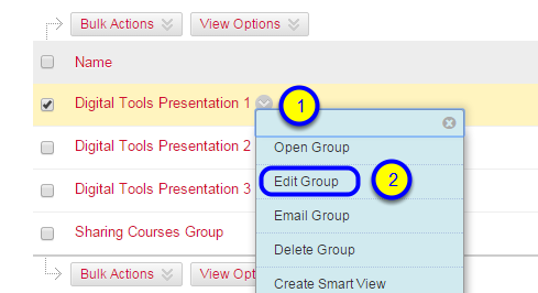 Hover over the name of the group, click the down arrow that appears at the end of the group name, and click Edit Group.