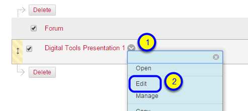 Hover over the name of the forum, click the down arrow that appears at the end of the forum name, and click Edit.