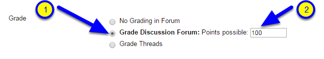 """Scroll down to Forum Settings and in the Grade section click the button next to """"Grade Discussion Forum: Points possible."""" Enter the number of points for the forum."""