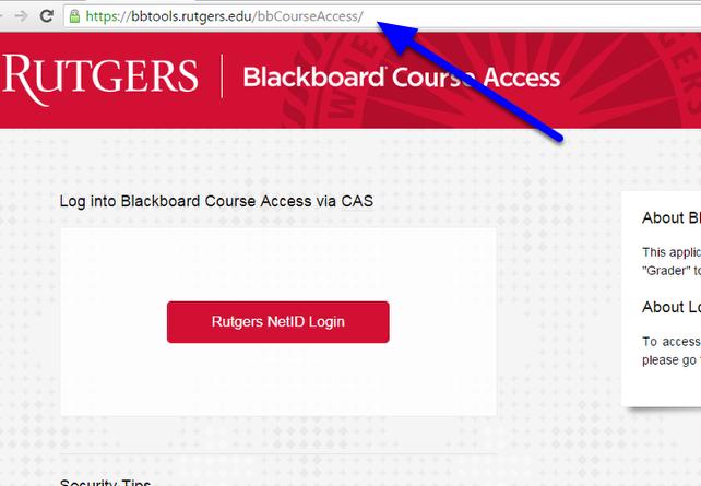 Got to the Blackboard Course Access website at https://bbtools.rutgers.edu/bbCourseAccess