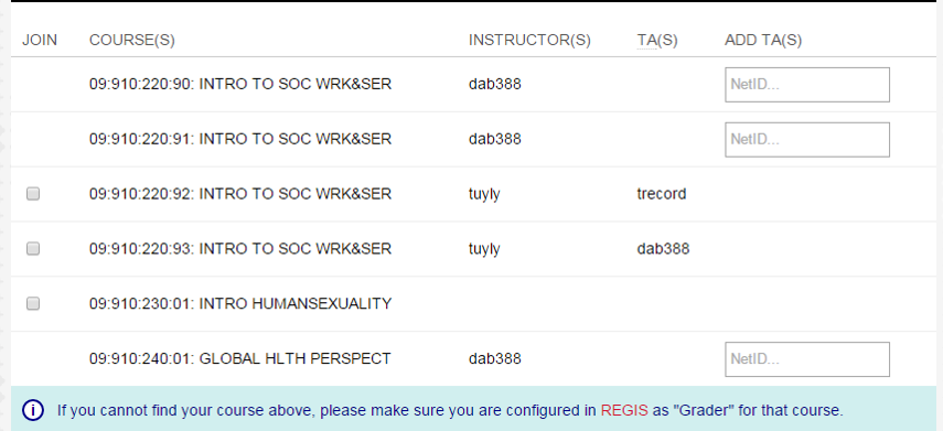 The list of courses to which you have Regis access are listed.