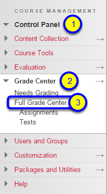 In the contextual menu, select Full Grade Center.