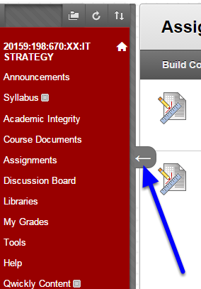 Hover your mouse at the edge of the course menu. Click on the arrow that appears.
