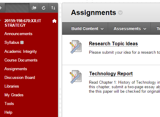 Click on the section of your course you would like to view without your course menu.