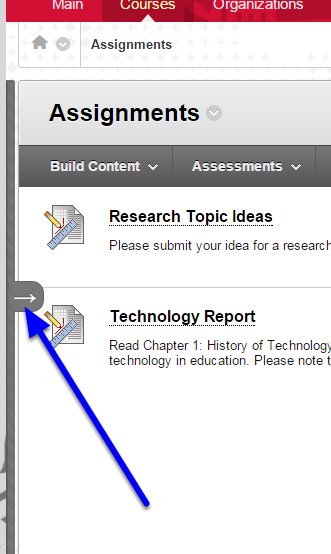To show the course menu again, simply hover your mouse over the left of the browser window, and click the arrow again.