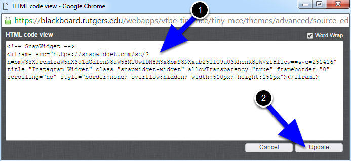"""Paste in the code that you copied from snapwidget. You will need to insert an """"s"""" into the code. There will be a link that starts with http://snapwidget.com. You will need to change this to https://snapwidget.com. Click the Update button."""