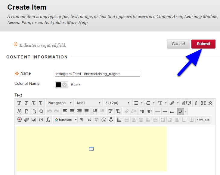 A yellow box will be displayed. Click the red Submit button at the top right or bottom right as usual.