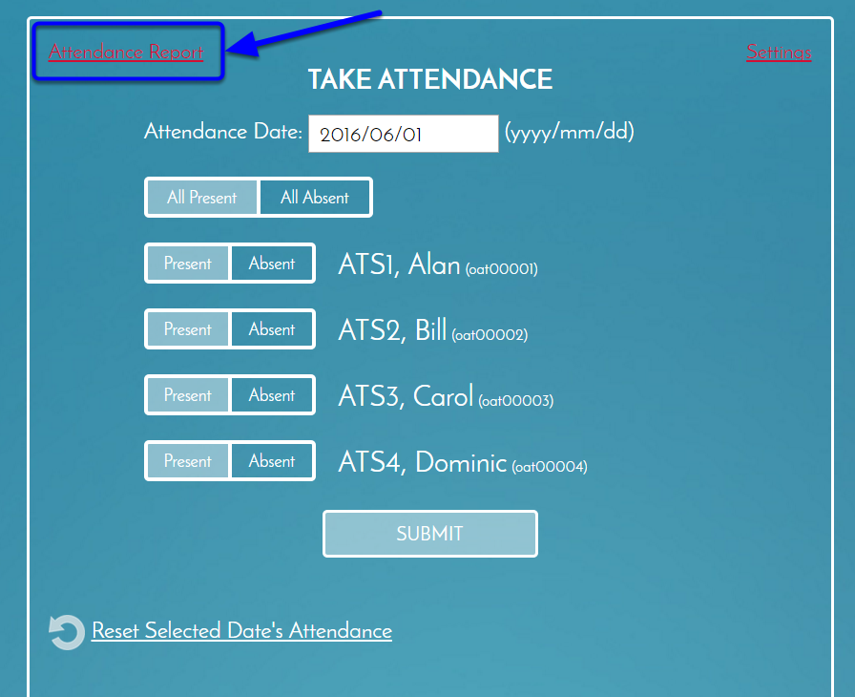 Click on Attendance Report to see the whole class roster.