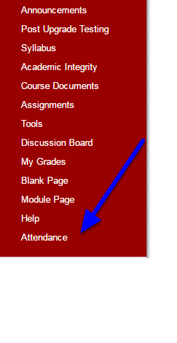 In your course access the Attendance link you've previously installed.