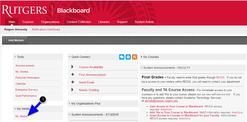 From the main page in Blackboard, click on My Media
