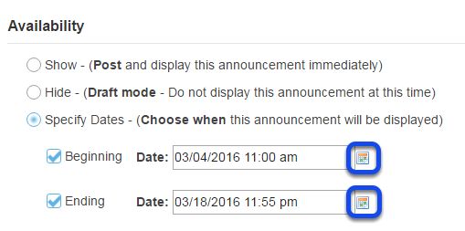 Select availability dates. (Optional)