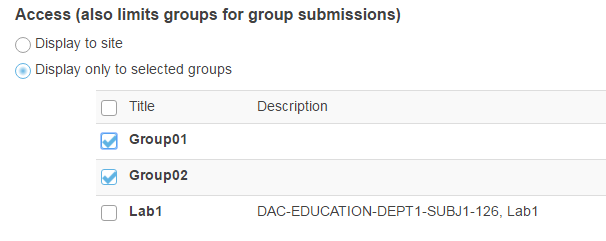 Display only to selected groups. (Optional)