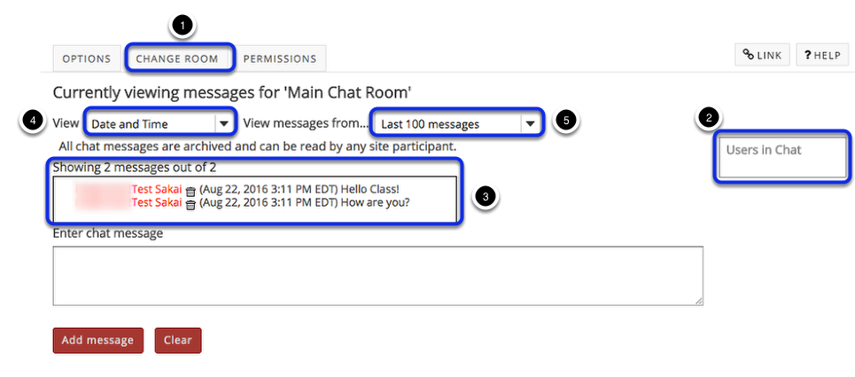 To read Chat Room messages: