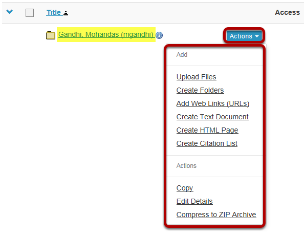 Add or create items.