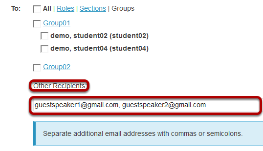 Enter the email address for unenrolled user/s.