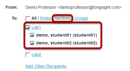 Choose recipients by section.