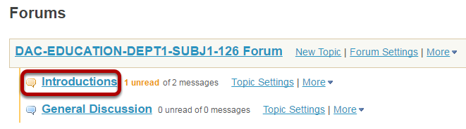 Select the Topic within the Forum
