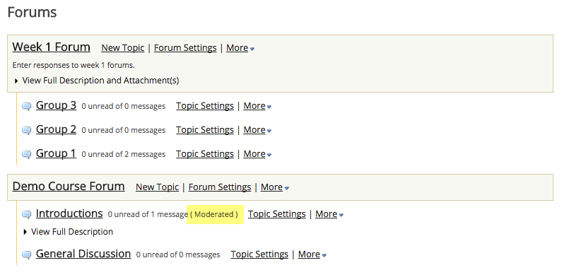 View moderated topic in forums list.