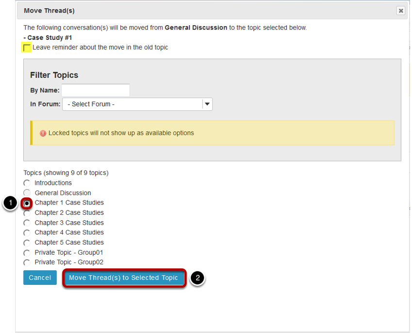 Select options and click Move Thread(s) to the selected topic.