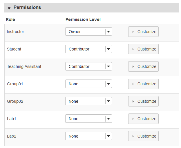 Select role permissions.