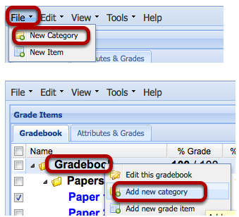 To Add Categories, click File / New Category.