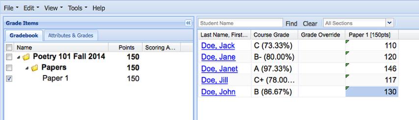 Enter Grades in the spreadsheet grading column.