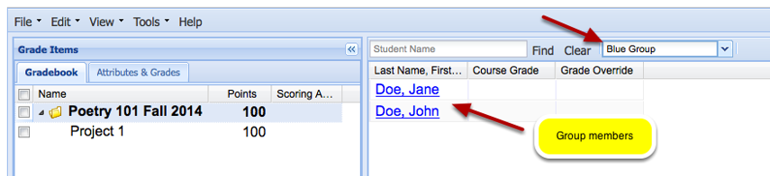 Example: Display of students in selected group