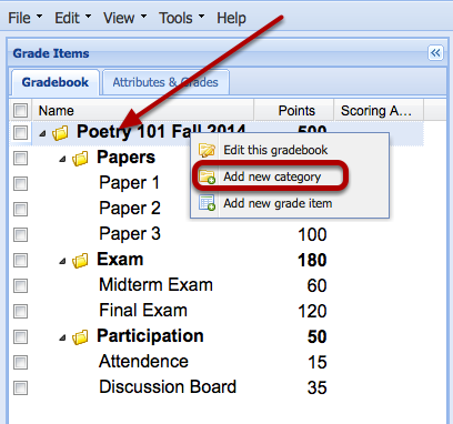 Right-Click the name of the Gradebook and select Add New Category.