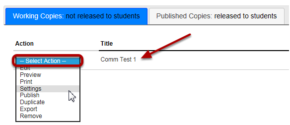 Go to the assessment settings.