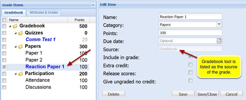 Option 2: Associating assignment with existing grade item.