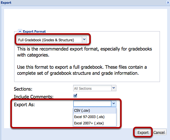 Select the export format and file type, then click Export.