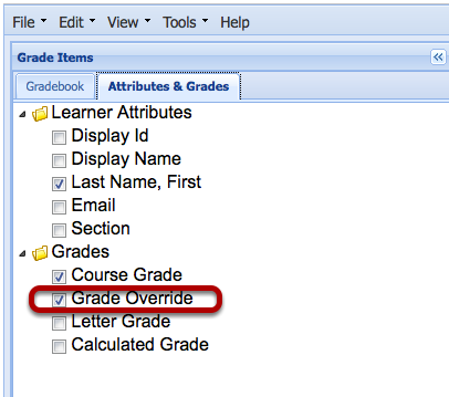 Click the Attributes and Grades tab and check the box next to Grade Override.