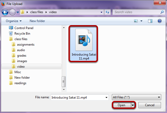 Locate and select the video file on your computer.