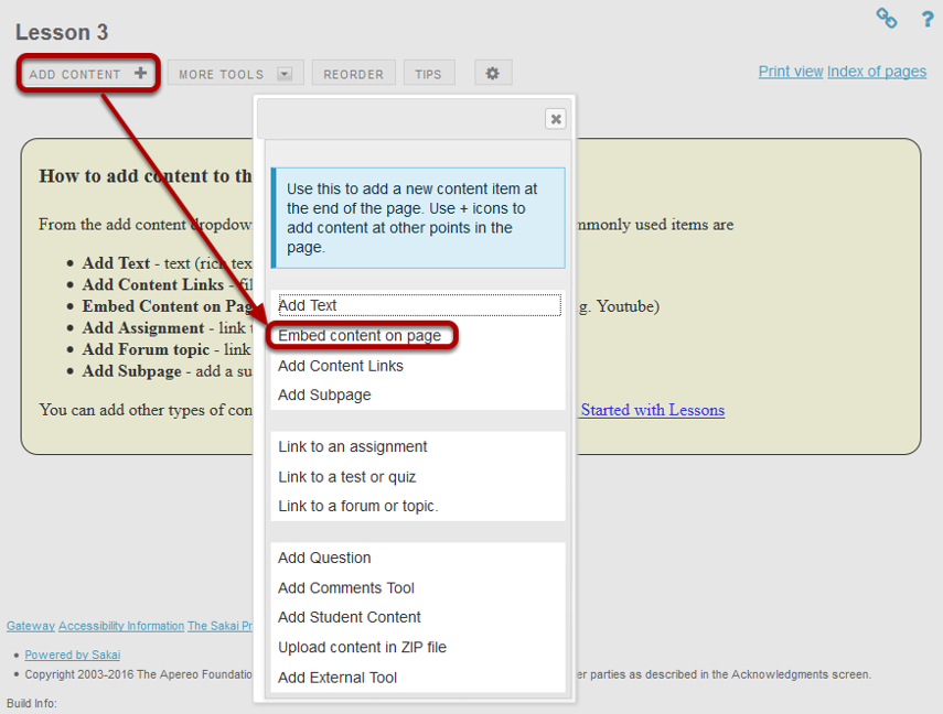 Click Add Content, then Embed Content on a Page.