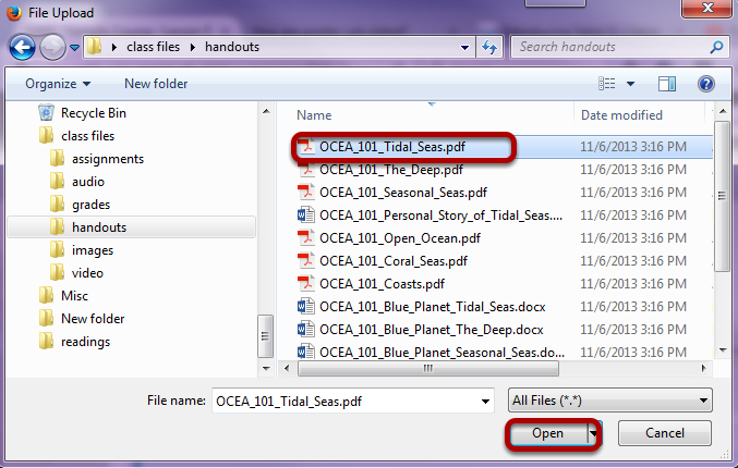 Locate and select the file to upload, then click Open.