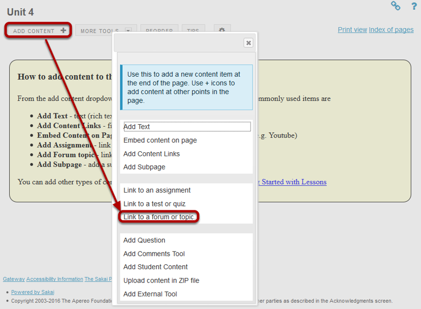 Click Add Content, then Link to a forum or topic.