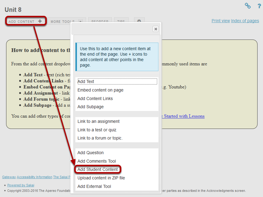 Click Add Content, then Add Student Content.