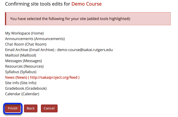 Click Finish to complete the site tools edit.