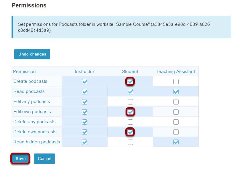 Modify the student tool permissions.