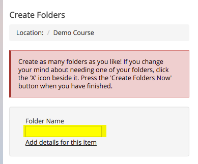 Enter the name of the folder.