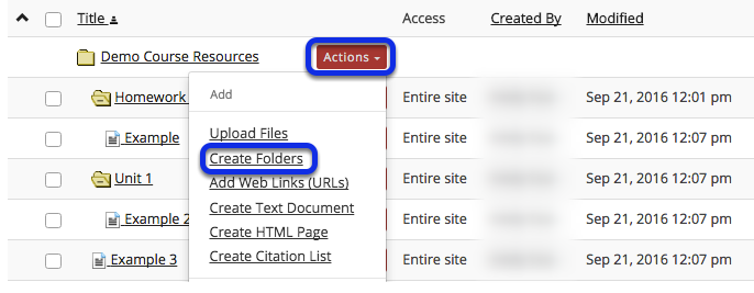 Click Actions, then Create Folders.