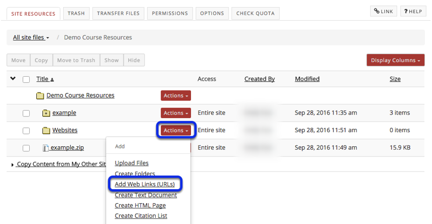 Click Actions, then Add Web Links (URLs).