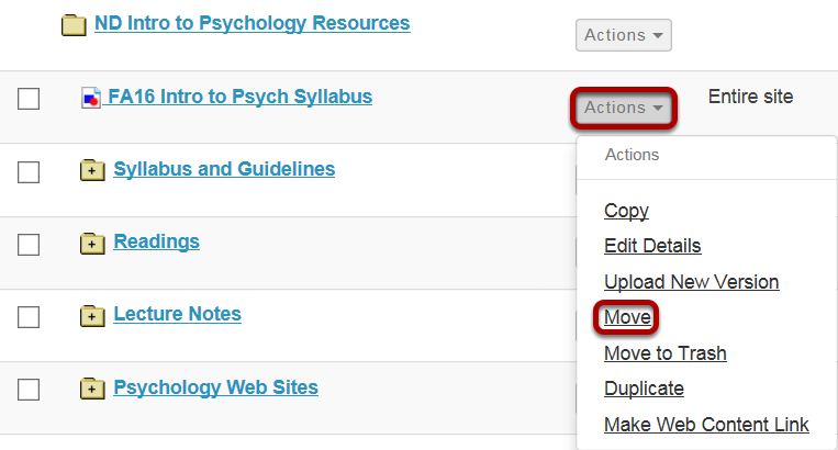Method 1: Click Actions, then Move.