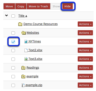 Method 1: Select the file(s) or folder(s), then click Hide.