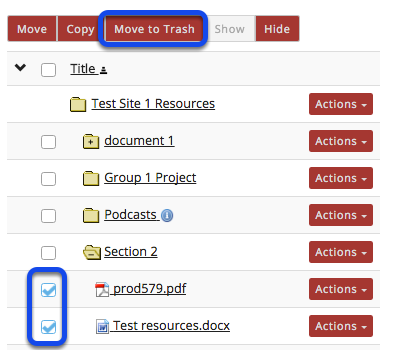 Method 1: Select the item(s), then click Move to Trash.