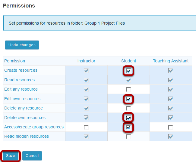Modify student permissions and then Save.