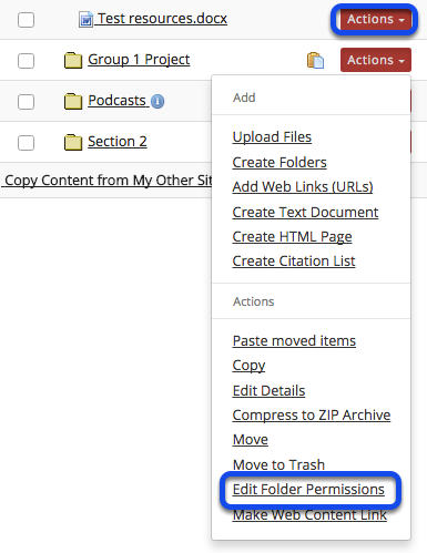 Click Actions, then Edit Folder Permissions.