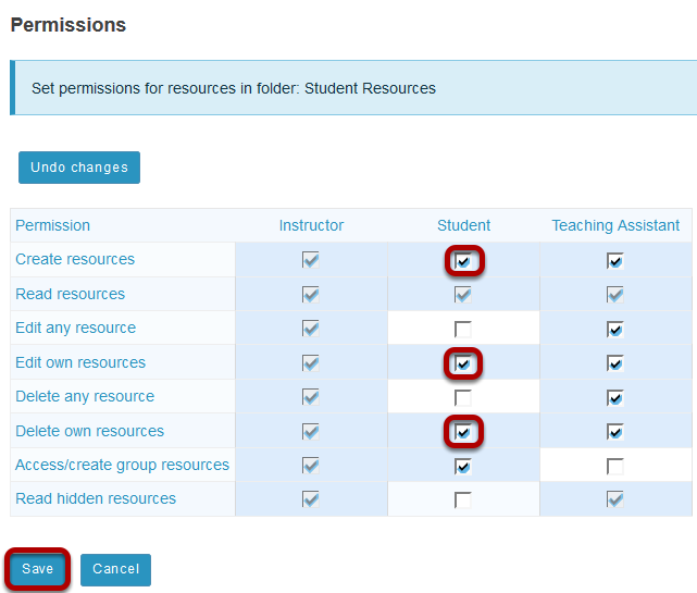 Modify student permissions, then Save.
