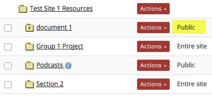 The Resources item is designated as Public.